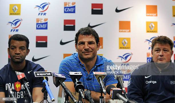 France's rugby union national team head coach Marc Lievremont assistant coach Didier Retiere and Emile N'tamack attend a press conference in...