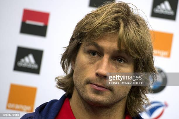 France's rugby union national team hooker Dimitri Szarzewski gives a press conference on November 5, 2013 in Marcoussis, south of Paris, ahead of the...
