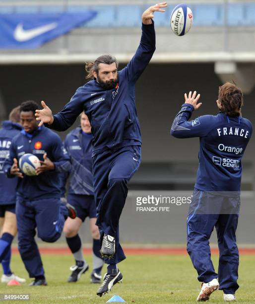 France's Rugby Union national team lock Sebastien Chabal attends a training session on February 23 2009 in Marcoussis south of Paris as part of the...