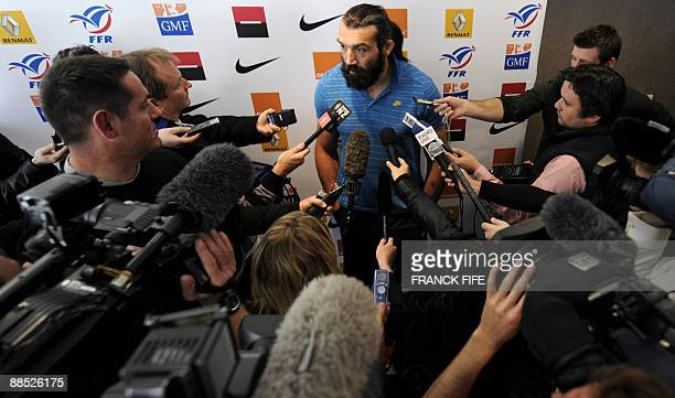 France's rugby union national team lock Sebastien Chabal speaks to the press in Wellington on June 17 2009 as the French squad to face New Zealand at...