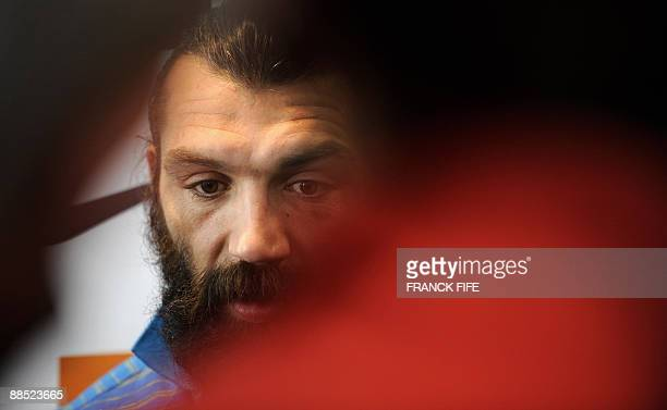 France's rugby union national team lock Sebastien Chabal takes part in a press conference in Wellington on June 17 2009 as the French squad to face...