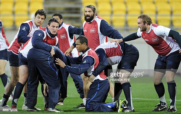 France's rugby union national team players Damien Chouly N° 8 Louis Picamoles flanker and Captain Thierry Dusautoir lock Sebastien Chaballock Romain...