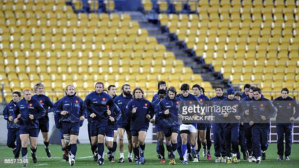 France's rugby union national team players jog during a training session at the Westpac Stadium in Wellington on June 19 2009 France on June 17 made...