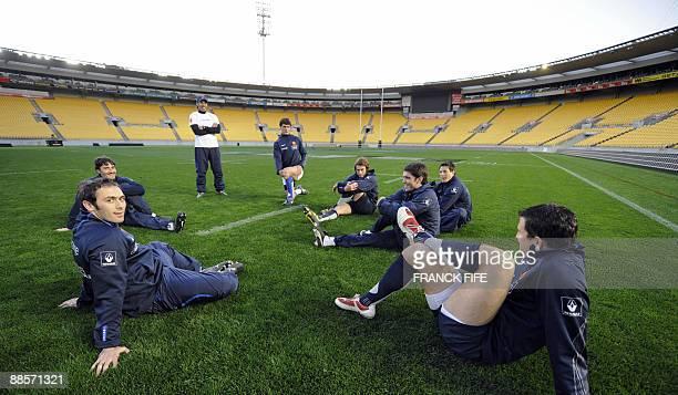 France's rugby union national team scrumhalf Julien Dupuy physical Julien Deloire kicker coach Gonzalo Quesada center Yannick Jauzion fullback Maxime...