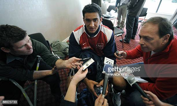 France's rugby union national team scrumhalf Maxime Mermoz speaks to the press in Wellington on June 17 2009 as the French squad to face New Zealand...