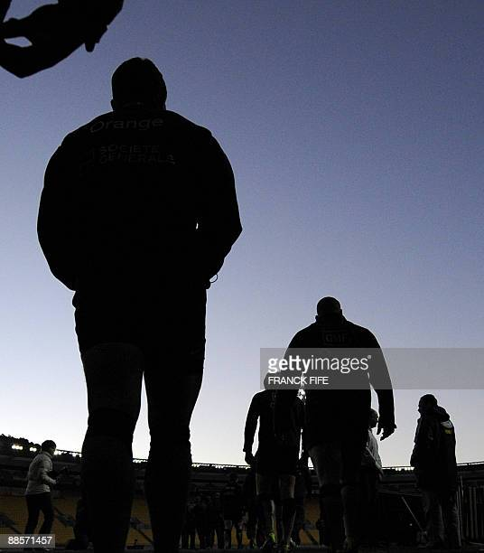 France's rugby union players arrive for a training session at the Westpac Stadium in Wellington on June 19 2009 France on June 17 made three changes...