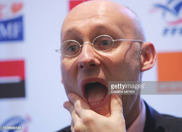 France's rugby union team head coach Bernard Laporte gestures during a press conference at his hotel in London, 12 March 2007, one day after loosing...