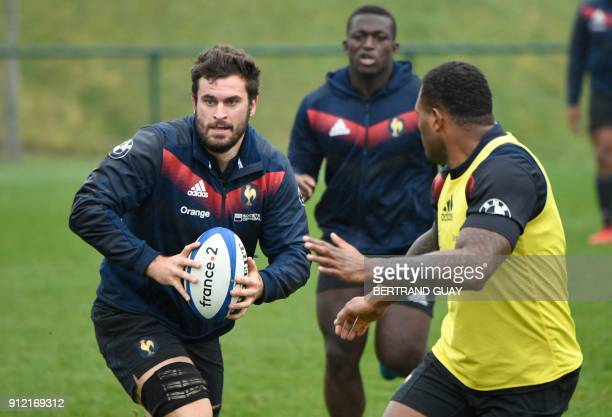 France's rugby union team's flanker Marco Tauleigne takes part in a training session on January 30 2018 at the team's training camp in Marcoussis...