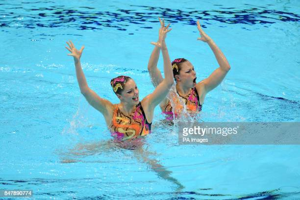 France's Sara Labrousse and Chloe Willhelm in action in the Duets Technical Routine