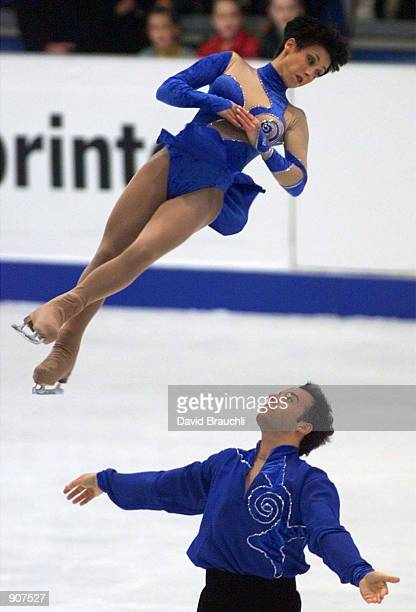 France's Sarah Abitbol flies through the air after being released by partner Stephane Bernadis during the Pairs Free Skating at the European Figure...