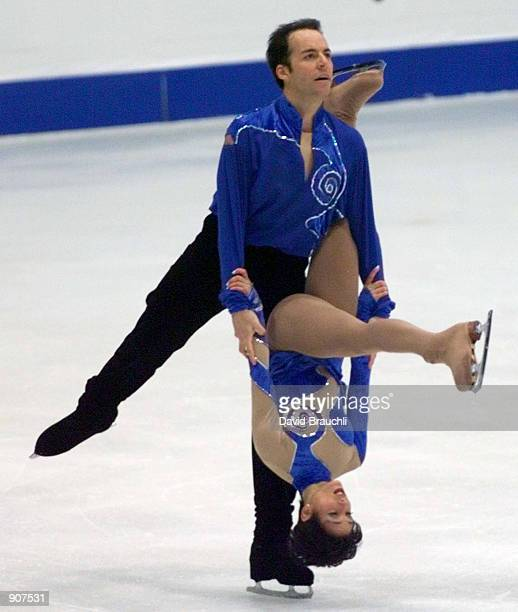 France's Sarah Abitbol is carried across the ice by partner Stephane Bernadis during the Pairs Free Skating at the European Figure Skating...