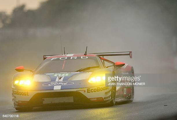 France's Sebastien Bourdais drives his Ford GT n°68 during the second qualifying practice session of the 84th Le Mans 24 hours endurance race on June...