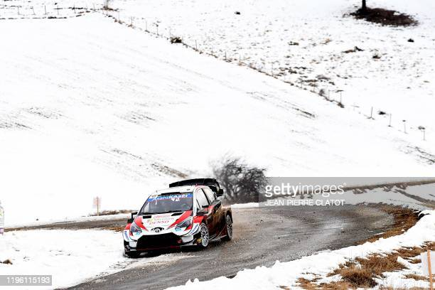 France's Sebastien Ogier and his co-pilot Julien Ingrassia steer their Toyota Yaris WRC during the ES 9 of the third stage of the 88th Monte Carlo...