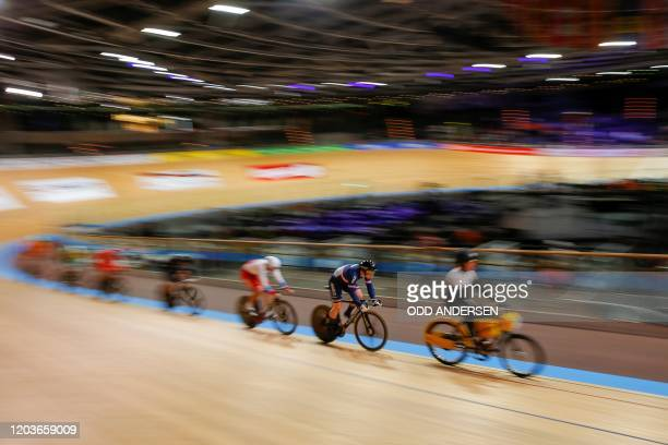 France's Sebastien Vigier competes in the Kerin first round during the UCI track cycling World Championship at the velodrome in Berlin on February...