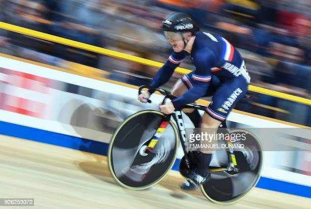 France's Sebastien Vigier takes part in the Men's Sprint Qualifying at the UCI Track Cycling World Championships in Apeldoorn on March 2 2018 / AFP...