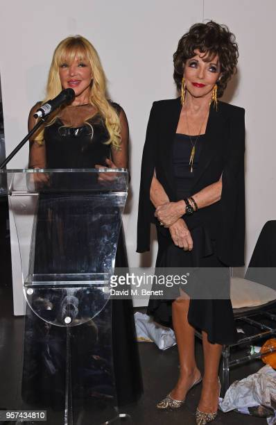 Frances Segelman and Dame Joan Collins speak at a live sculpting in support of Penny Brohn UK Charity at the London Film Museum on May 11 2018 in...