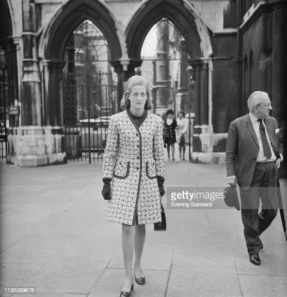 Frances Shand Kydd leaving the Royal Courts of Justice following her divorce from her first husband London UK 15th April 1969