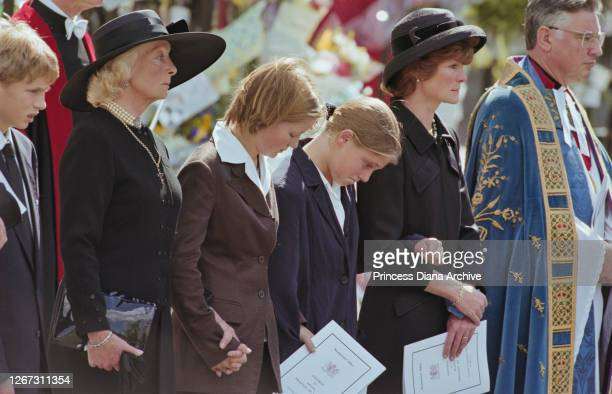 Frances Shand Kydd mother of Diana Princess of Wales Eleanor Fellowes Laura Fellowes and Diana's sister Lady Sarah McCorquodale attending the...