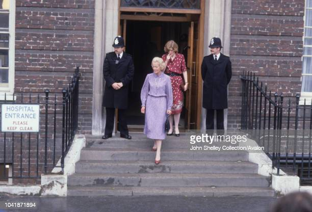 Frances Shand Kydd mother of Princess Diana and Lady Sarah McCorquodale sister of Diana leave St Mary's Hospital after visiting the newborn baby...