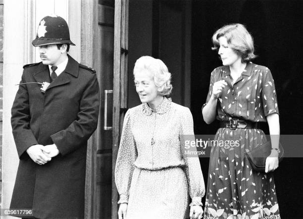 Frances Shand Kydd proud mother of Princess Diana Princess of Wales leaves St Mary's Hospital London after visiting her daughter and new grandson...