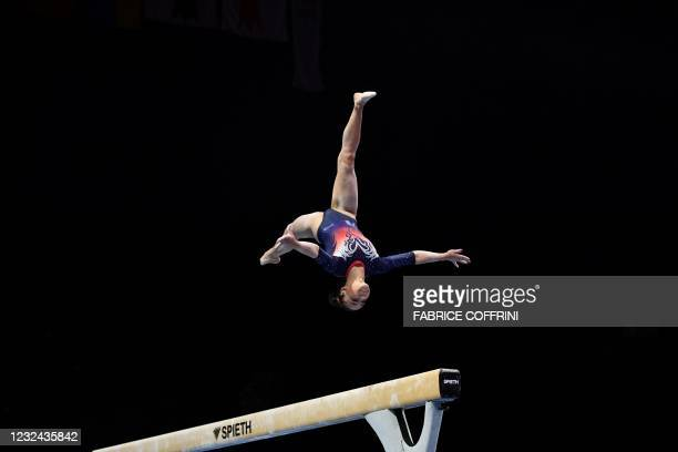 France's Sheyen Petit competes in the Women's beam qualifications during European Artistic Gymnastics Championships at the St Jakobshalle, in Basel,...