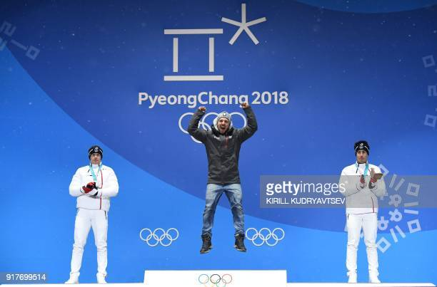 France's silver medallist Alexis Pinturault Austria's gold medallist Marcel Hirscher and France's bronze medallist Victor MuffatJeandet pose on the...