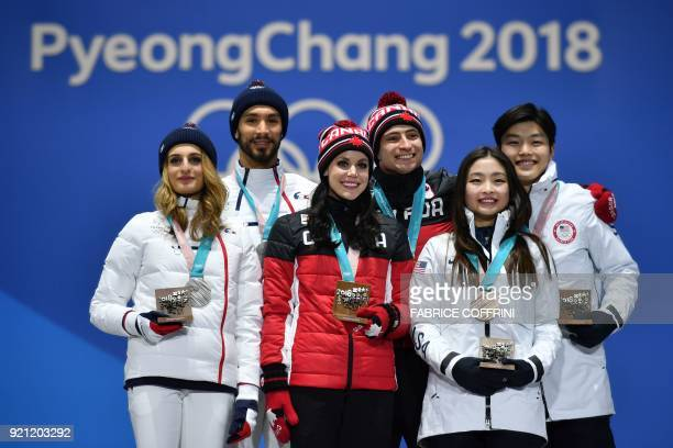 France's silver medallists Gabriella Papadakis and Guillaume Cizeron Canada's gold medallists Tessa Virtue and Scott Moir and USA's bronze medallists...