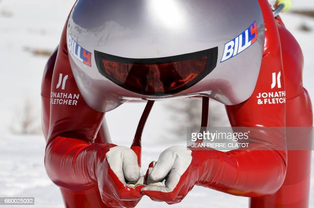 TOPSHOT France's Simon Billy gets ready to practice speed skiing on the Chabriere ski slope in Vars on March 29 2017 / AFP PHOTO / JEANPIERRE CLATOT