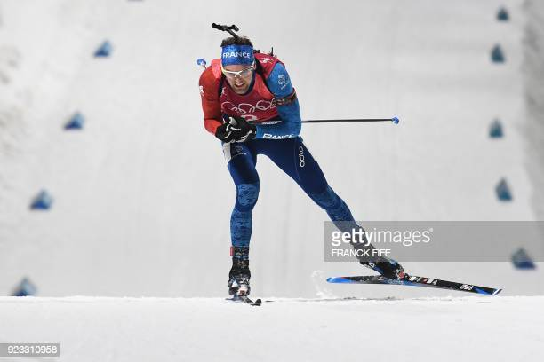 TOPSHOT France's Simon Desthieux competes in the men's 4x75km biathlon relay event during the Pyeongchang 2018 Winter Olympic Games on February 23 in...