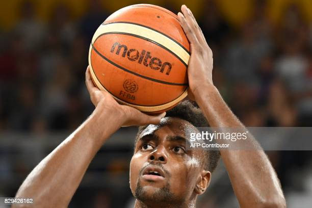 France's small forward Livio JeanCharles looks to scores during a friendly basketball match between France and Lithuania ahead of the FIBA EuroBasket...