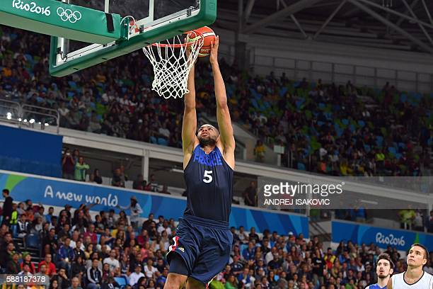 TOPSHOT France's small forward Nicolas Batum goes to the basket during a Men's round Group A basketball match between Serbia and France at the...