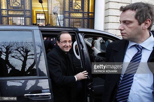 France's Socialist Party candidate for the 2012 French presidential election Francois Hollande arrives to visit the Jean Zay high school on February...