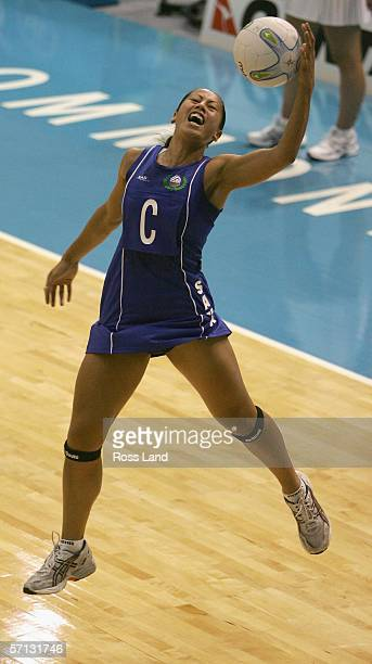 Frances Solia of Samoa in action during the netball match between Samoa and Wales on Day Four of the 18th Commonwealth Games at the State Netball...