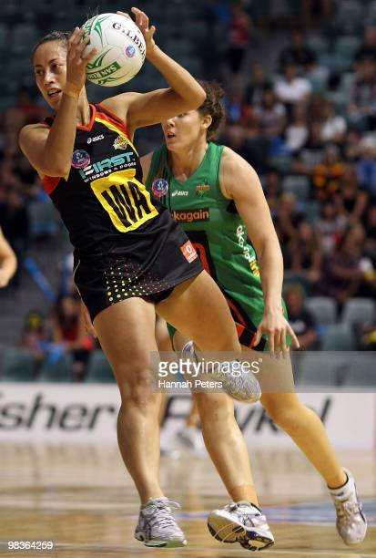 Frances Solia of the Magic attacks down the court during the round four ANZ Championship match between the Waikato Bay of Plenty and the West Coast...