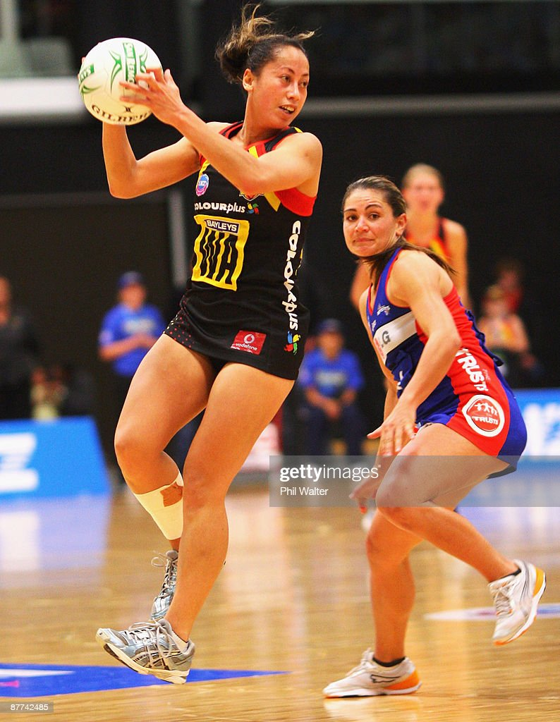 Frances Solia of the Magic takes a pass during the round seven ANZ Championship match between the Magic and the Mystics played at the Energy Events Centre on May 18, 2009 in Rotorua, New Zealand.