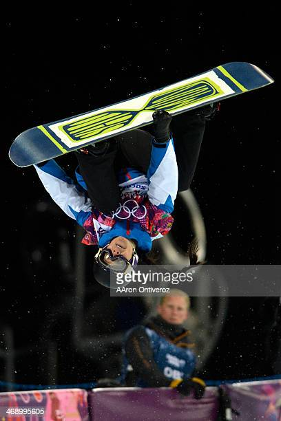 France's Sophie Rodriguez makes a grab during a women's snowboard halfpipe final at the Rosa Khutor Extreme Park Sochi 2014 Winter Olympics on...