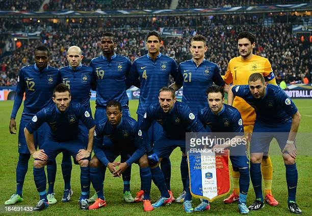 France's squad line up prior to the World Cup 2014 qualifying football match France vs Spain on March 26 2013 at the Stade de France in SaintDenis...