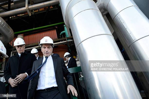 France's stateowned electricity company EDF CEO Henri Proglio inaugurates the thermal production center on November 12 2012 in Martigues southeastern...
