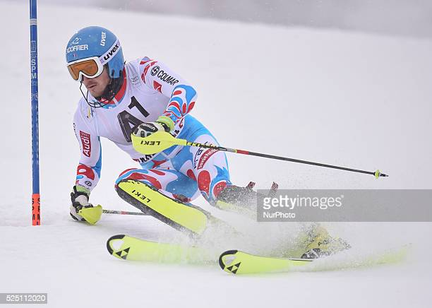 France's Steve Missillier races down the course during the men's Slalom on the third day of the famous Hahnenkamm at the FIS SKI World Cup in...