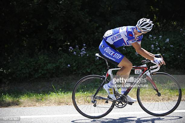 France's Sylvain Chavanel looks behind him as he rides in the 210,5 km and 12th stage of the 2010 Tour de France cycling race run between...