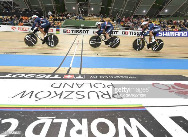France's team competes during the team sprint competition of the UCI Track Cycling World Championships on February 27 2019 in Pruszkow Poland
