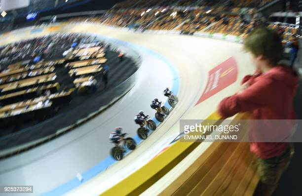 TOPSHOT France's team competes in the Women's Team Pursuit qualifying round during the UCI Track Cycling World Championships in Apeldoorn on Februray...