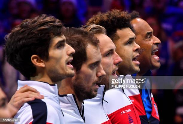 France's team PierreHugues Herbert Richard Gasquet Lucas Pouille JoWilfried Tsonga and Yannick Noah arrive for the doubles match of the Davis Cup...