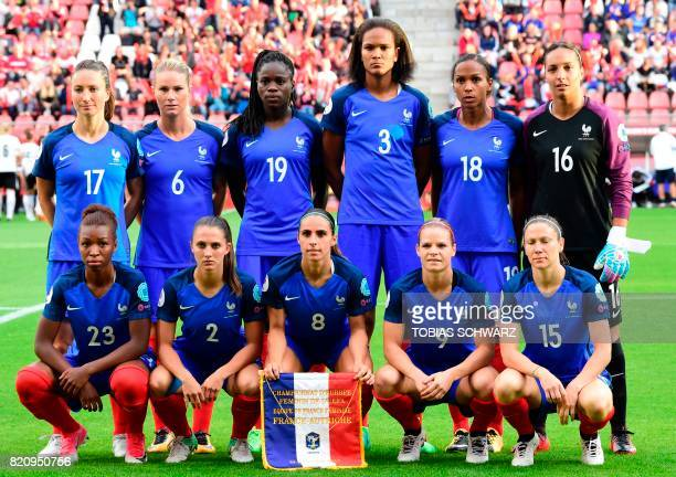 France's team players midfielder Grace Geyoro defender Eve Perisset defender Jessica HouaraDHommeaux midfielder Eugenie Le Sommer midfielder Elise...