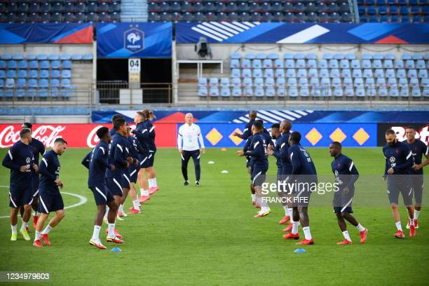 France's team players take part in a training session at the Meineau stadium in Strasbourg, eastern France, on August 31, 2021 on the eve of the FIFA...