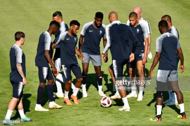 France's team players take part in a training session at the Tsentralny Stadium in Kazan on June 29 2018 on the eve of the Russia 2018 World Cup...