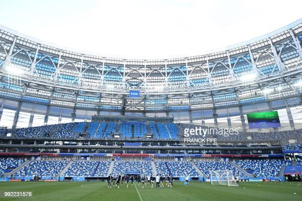 France's team players take part in a training session of France's national football team at the Nizhny Novgorod Arena in Nizhny Novgorod on July 5 on...