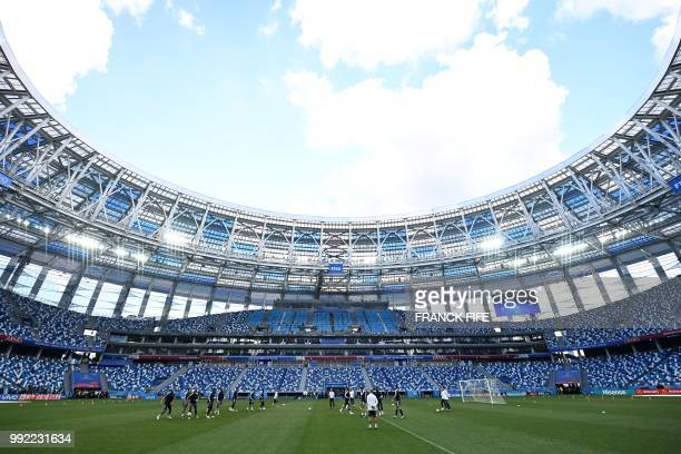 TOPSHOT France's team players take part in a training session of France's national football team at the Nizhny Novgorod Arena in Nizhny Novgorod on...