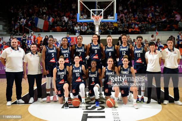 France's team poses ahead of the FIBA Women's Olympic Qualifying Tournament match between France and Brazil on February 8 at the Prado stadium in...