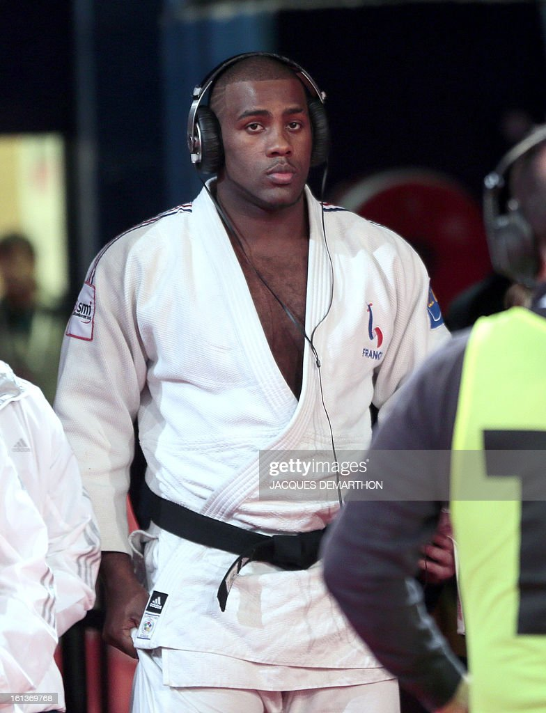 France's Teddy Riner concentrates before competing in the Men +100kg contest final match of the Paris' Judo Grand Slam tournament on february 10, 2013 in Paris.